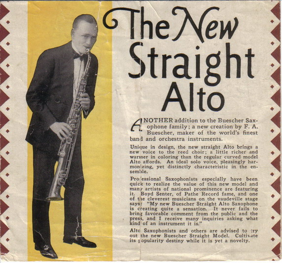 An advertisement for The Beuscher Co.'s straight alto saxophone.